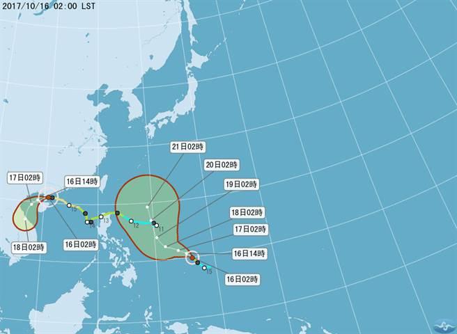 颱風路徑潛勢預測圖。(取自中央氣象局)