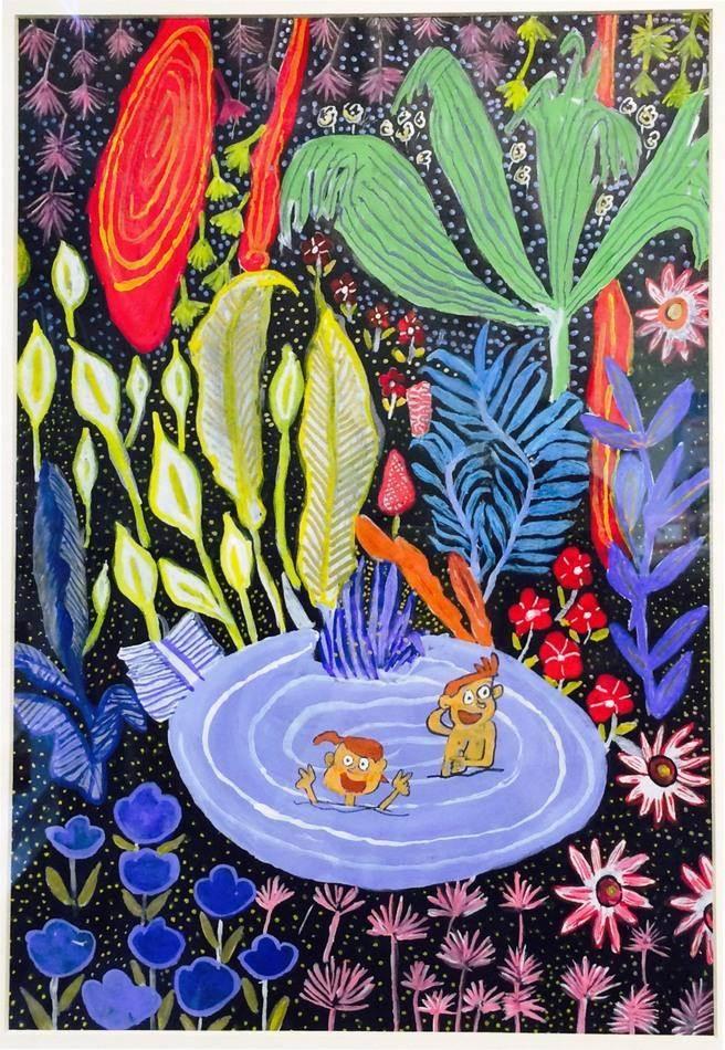 本屆心智障礙者繪畫比賽兒童組第一名「夢想花園」-在繁花開放昂然的秘密基地避暑,就是我夢想的花園。(圖/中壽提供)