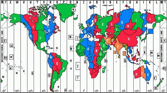 全球時區圖可看出台灣時區所處地理位置。(擷取自網路)