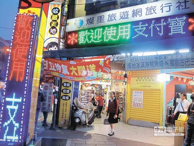 寧夏夜市2015年成為全台第一個使用「支付寶」的夜市,入口跑馬燈就主打「歡迎使用支付寶」。(本報資料照片)