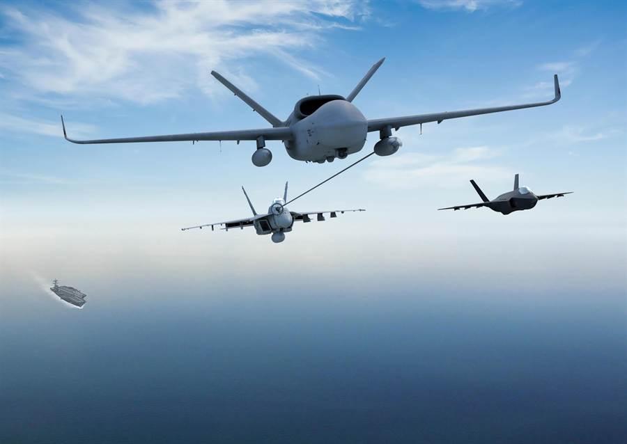 可能是通用原子的MQ-25無人加油機設計,並沒有採用太匿蹤的外型。(圖/美國海軍)