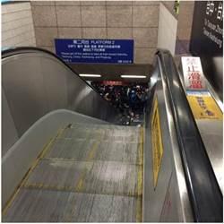 台鐵電扶梯驚魂!28吋行李箱從天而降