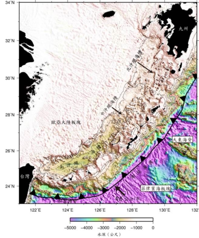 沖繩海槽北起日本九州外海南至臺灣東北外海,長約1,100公里。(圖片來源:經濟部中央地質調查所網頁)