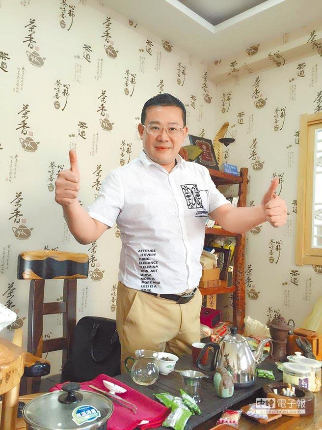 吳迪是第一個到濟南經營茶葉生意的台商。(吳迪提供)