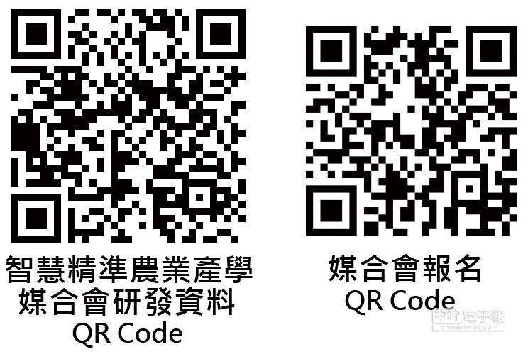 智慧精準農業產學媒合會研發資料QR碼(左)、媒合會報名QR碼(右)圖/農業生技分析與促進辦公室提供