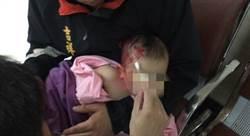 平溪天燈街遭砸店 小嬰兒滿臉紅漆