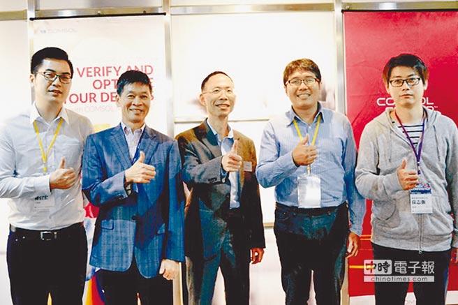 PMC工程師陳信宏(左起)、皮托科技執行長簡榮富、COMSOL資深工程師劉建、台灣愛美科洪志毅博士、富祐鴻科技副理蘇志強。圖/業者提供
