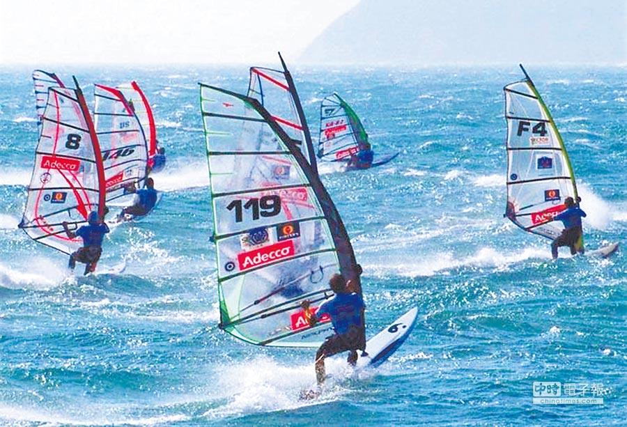 「2017年世界RS:X風浪板亞奧運積分賽」將於澎湖登場,世界級選手同場飆風。  (本報資料照片)