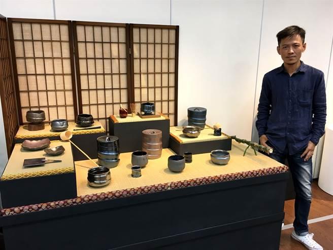 羅紹綺研究日本茶道,創作日本茶道具。 (廖素慧攝)