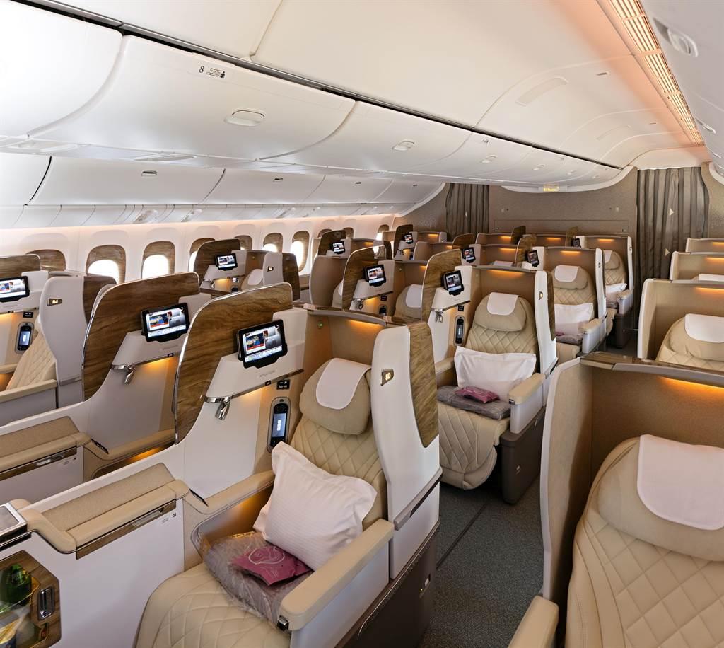 阿联酋航空波音777商务舱。图:业者提供