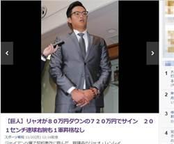 廖任磊整年沒上一軍 遭巨人減薪80萬日圓