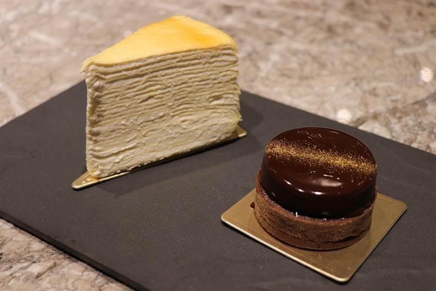 限定商品經典千層薄餅(圖左)、焦糖海鹽可可塔(圖右)。(徐力剛攝)