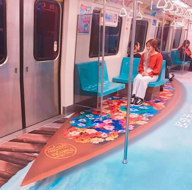 京站以「陽光、空氣和水」為主題,與台北捷運合作,12月25日前在淡水信義線打造京站新生活運動列車。(京站提供)