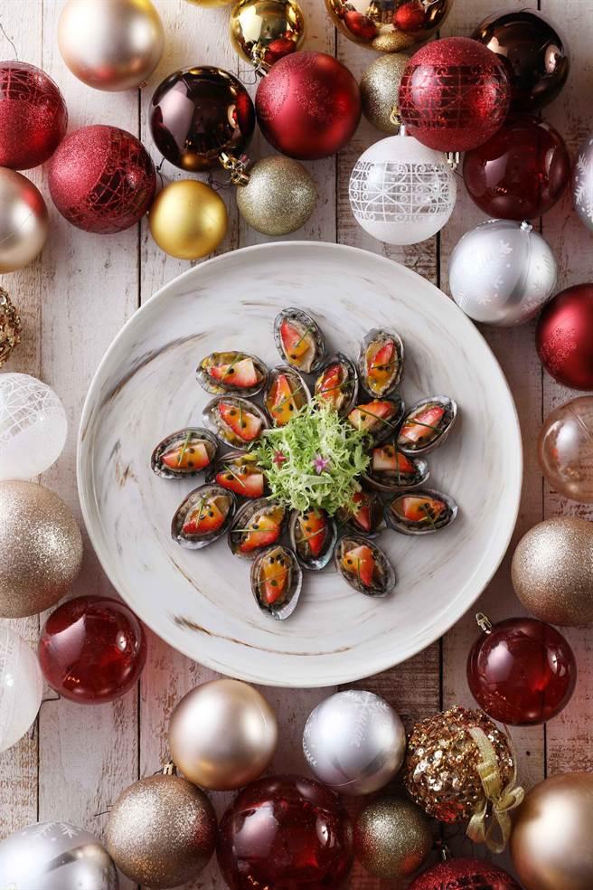 貢寮珍珠鮑質高肉嫩,做成開胃酸甜口感,與海潮鮮甜共譜,口味絕佳。 (圖片/Mega 50餐飲及宴會)