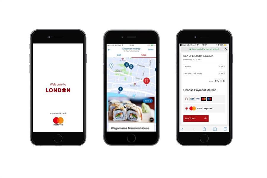 萬事達卡與倫敦市合作為旅客打造智慧城市App,旅客透過萬事達卡電子錢包Masterpass就可立即在手機App內購買熱門觀光景點票券。  圖/萬事達卡提供