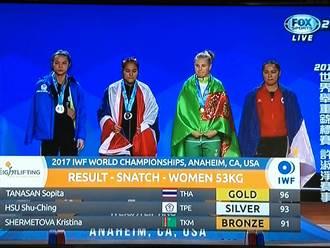 舉重世錦賽》泰國選手包辦三金 許淑淨抓舉銀牌