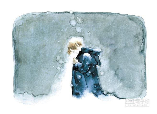伊勢英子表示在繪製《男孩與三條腿》的過程中,她幾乎是邊畫邊哭,特別是這張圖中男孩與狗的深厚情感,讓她特別感動。(遠流出版社提供)