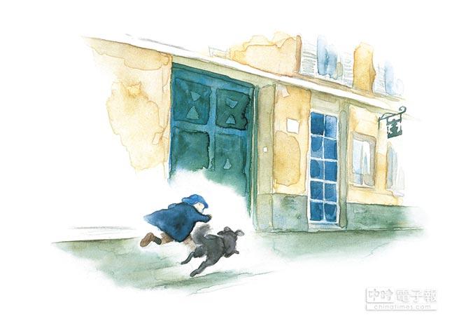 伊勢英子在繪本《男孩與三條腿》中描述一人一狗的深厚感情。(遠流出版社提供)