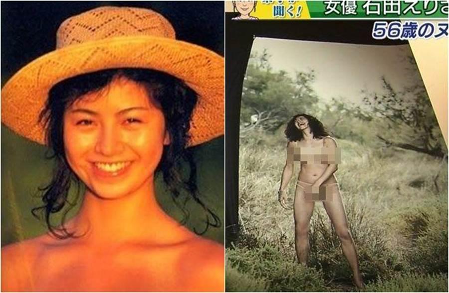 56歲的石田惠理再推出露點露毛寫真!(圖/翻攝sonohimori.blog、eropics.me)