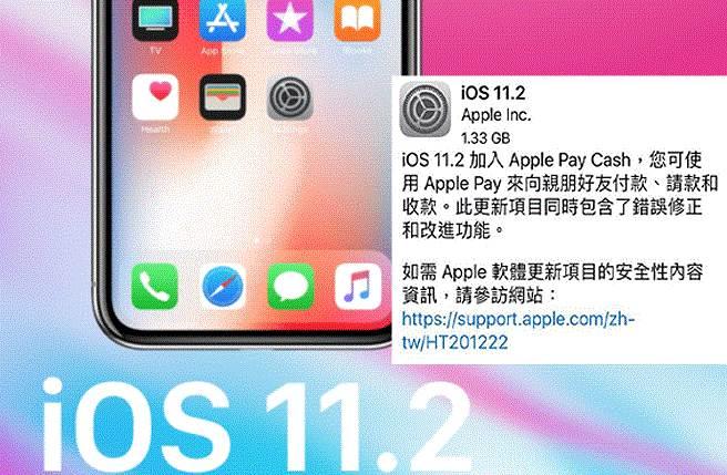 蘋果下午釋出iOS 11.2版本,提供更新解決黑畫面問題。(圖/截自官網)
