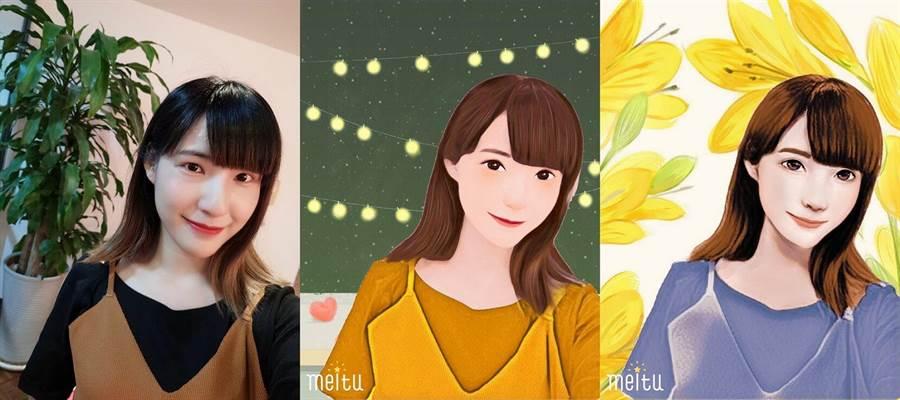 用戶只需開啟《美圖秀秀》並上傳自拍照,全球首位AI繪師Andy就能為用戶畫出2款插畫風格的專屬人像!(圖/美圖提供)