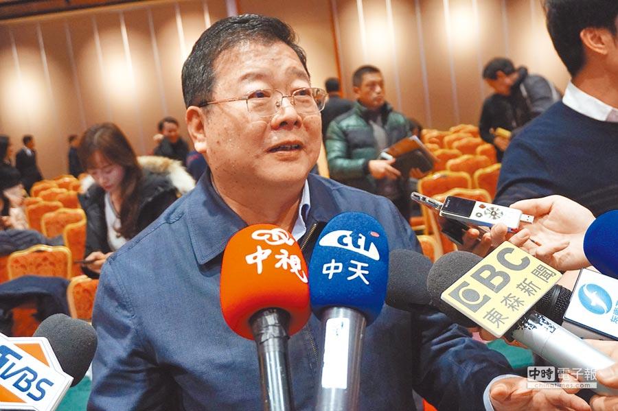 大陸海協會副會長孫亞夫4日出席「過台灣」首映新聞發布會,並接受台媒採訪。(記者蔡浩祥攝)