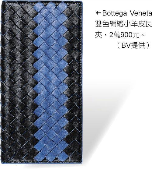 Bottega Veneta雙色編織小羊皮長夾,2萬900元。(BV提供)