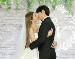 女神賴琳恩婚宴激吻陳乃榮美爆 婚紗透到走光露內褲