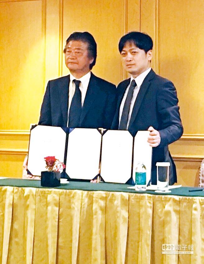 捷格科技董事長左典修(右)攜手元氣集團總裁神成裕會長(左)簽訂MOU,致力打造亞洲智慧長照市場。圖/陳又嘉