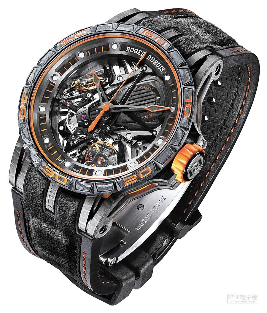 Roger Dubuis王者系列Excalibur Aventador S雙擒縱機械腕表,665萬元,限量8枚,其中一只在台灣售出。(Roger Dubuis提供)