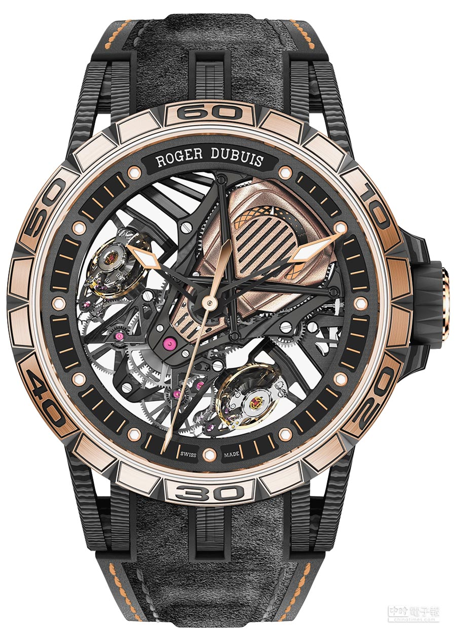 Roger Dubuis王者系列Excalibur Aventador S雙擒縱機械腕表(玫瑰金),680萬元台幣,限量28只。(Roger Dubuis提供)