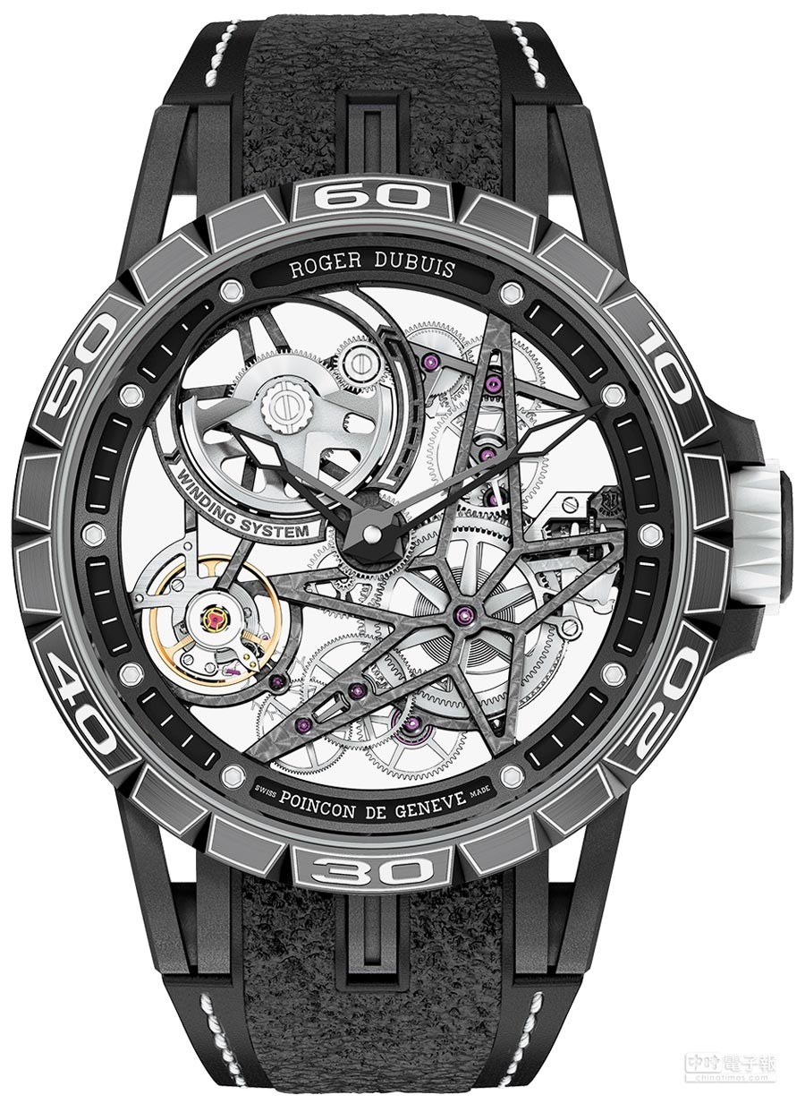 Roger Dubuis王者系列Excalibur Spider Pirelli鈦合金鏤空自動上鍊腕表,220萬元。(Roger Dubuis提供)