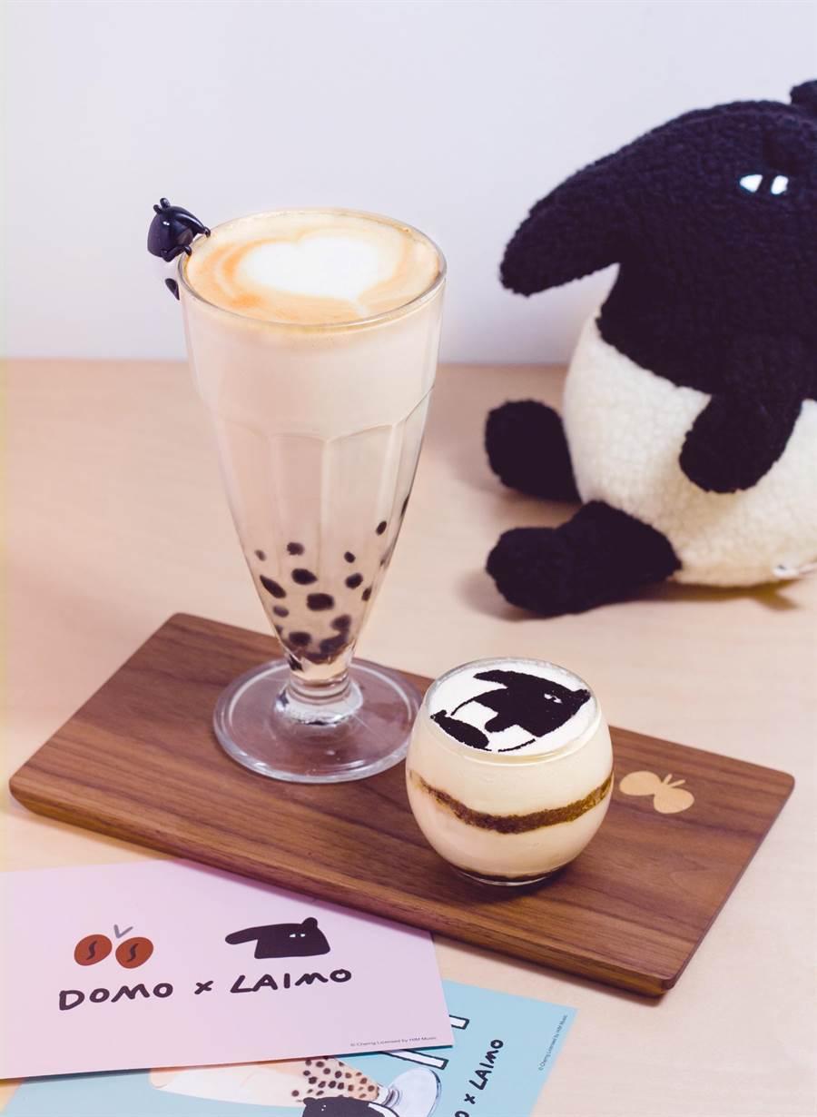 DOMO CAFE提供馬來貘珍珠拿鐵提拉米蘇套餐試吃。(圖/李奇嶽提供)