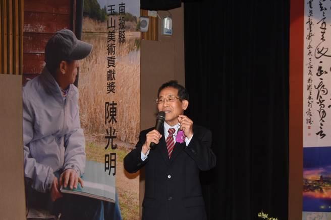 美術貢獻獎由畫家陳光明榮膺。(沈揮勝攝)