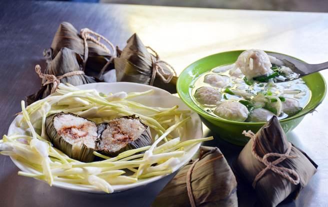 野薑花做成的粽子、魚丸,一口咬下都能感受口齒留香。(林和生攝)