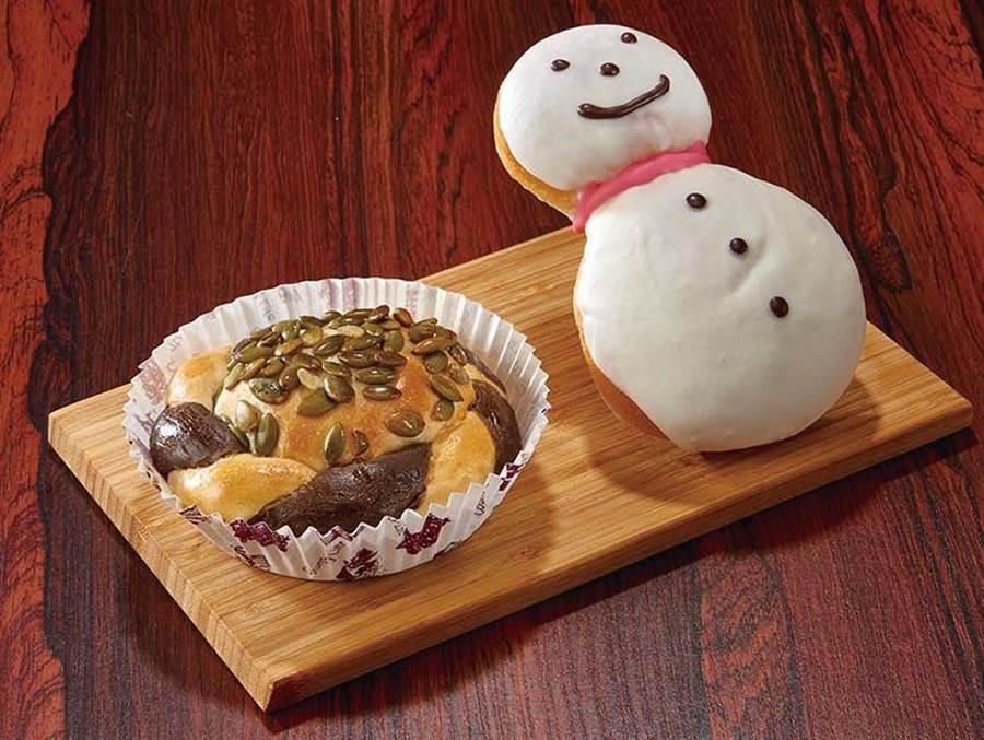 家樂福各種可愛造型的耶誕麵包,雪人-雙色南瓜,20元。(家樂福提供)
