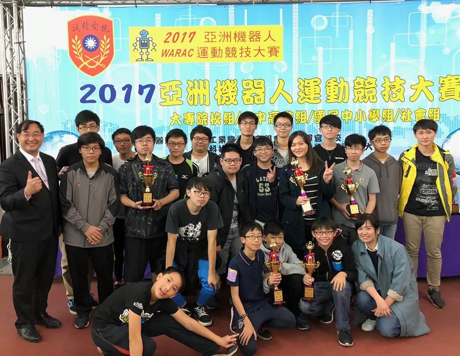 金門縣參加「2017亞洲機器人運動競技大賽」,拿下3金3銀1銅等10個獎項。(金大提供)