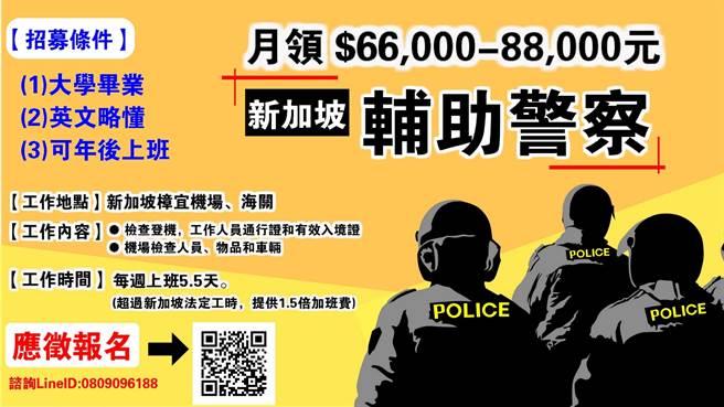 新加坡輔助警察(Auxiliary Police Officer)2018年1月將2度來台向大學畢業青年招手,此次祭出66k新台幣起跳的誘人薪資。(陳育賢翻攝)