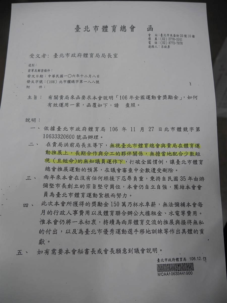 台北市體育總會不滿預算被刪,竟發文給北市府,內容指涉已故議員李新短視又短命。(陳燕珩攝)