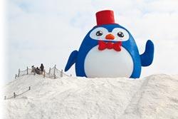 超萌企鵝 登上七股鹽山