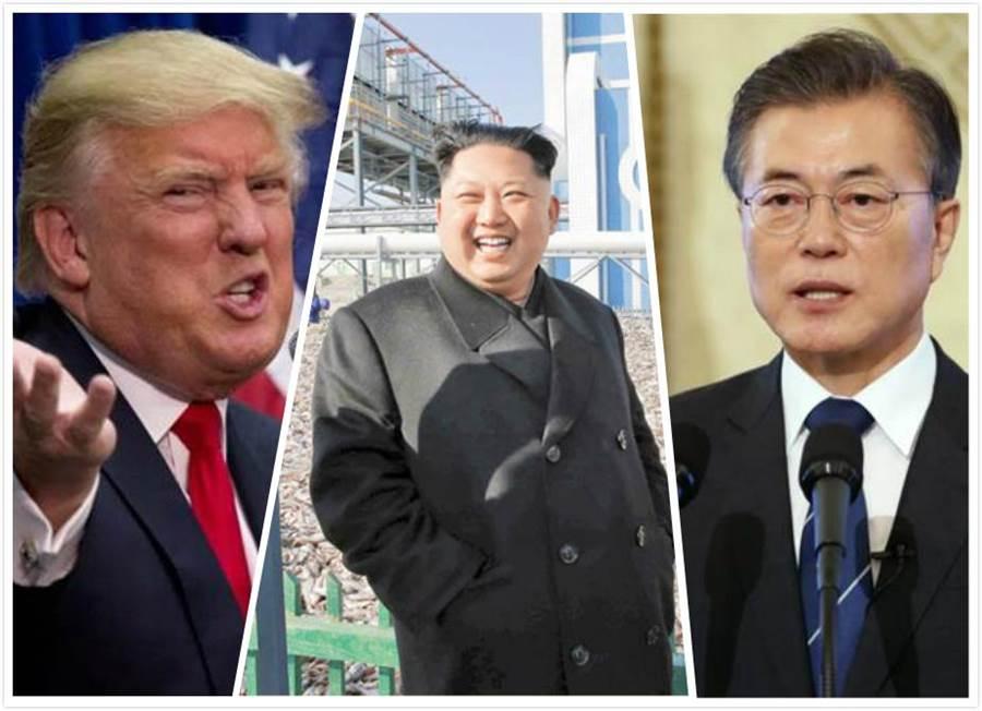 美國總統川普(左)、北韓領導人金正恩(中)、南韓總統文在寅(右)。(新華社、美聯社資料照)