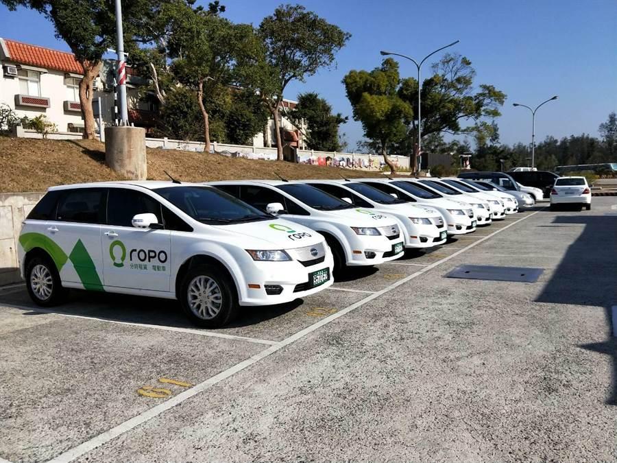 金門縣政府與路得寶公司經過一年的籌備,今(1/2)在金門機場啟動純電車U-Car租賃服務。(圖/主辦單位提供)