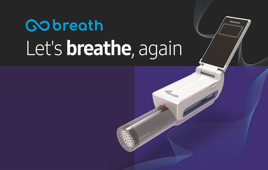 GoBreath - 專為肺部受損、全身麻醉後出現術後肺部併發症的患者而設計的復健解決方案。(圖/三星提供)
