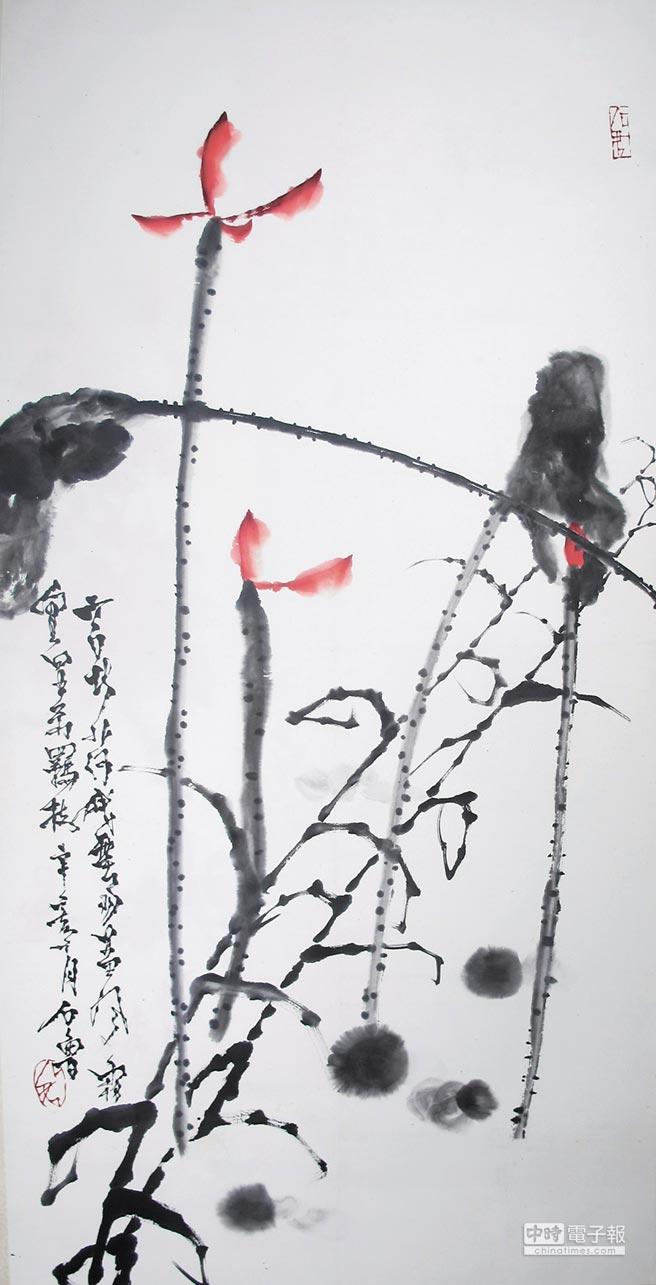 長安畫派代表人物石魯多幅畫作的裝裱出自楊小寧之手,圖為楊小寧揭裱後的石魯精品《秋荷》。(漢緣閣提供)
