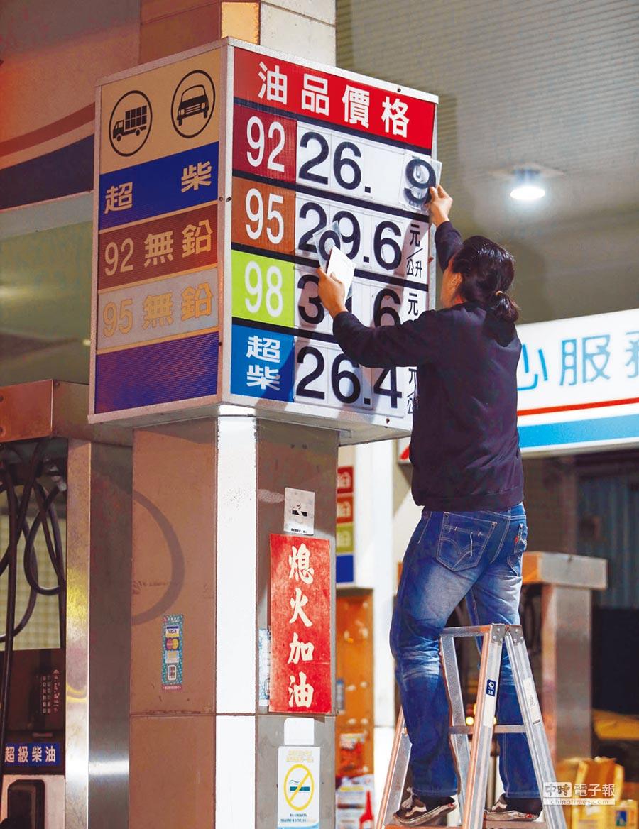 圖為加油站員工忙著更換油價的畫面。(本報資料照片)