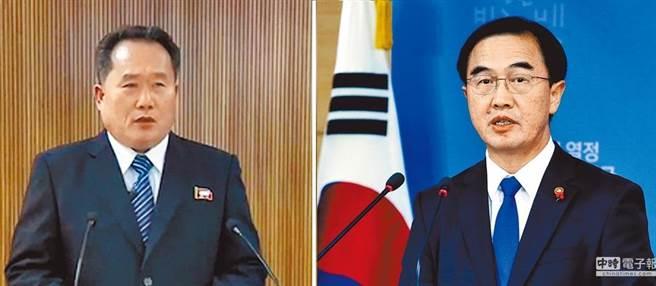 兩韓將在明天啟動對談,都是由各自的韓國統一單位長官做為代表團團長,韓國是統一部部長趙明均(右),而北韓代表是祖國和平統一委員會的委員長李善權(左)。(圖/美聯社、朝中社)
