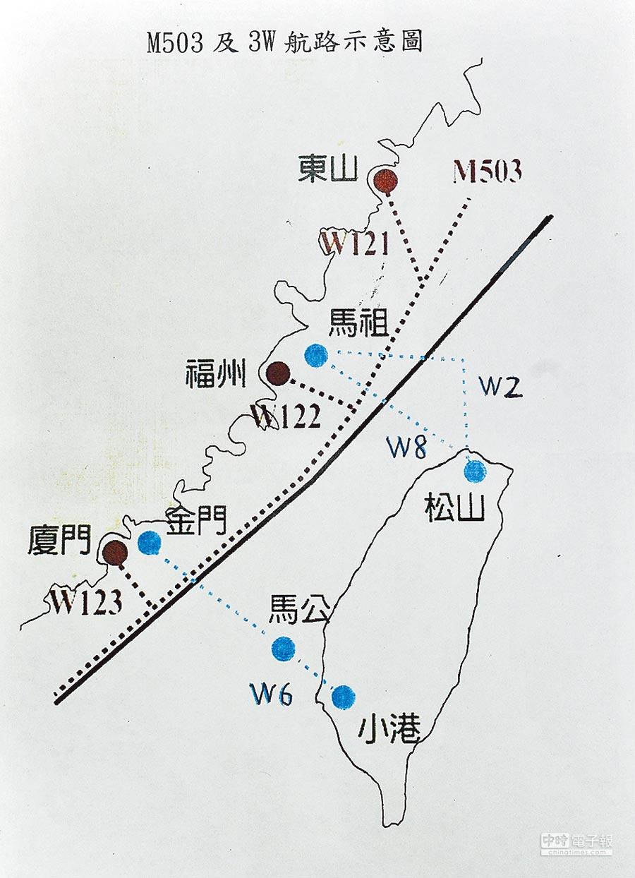 M503及3W航路示意圖。(民航局提供)