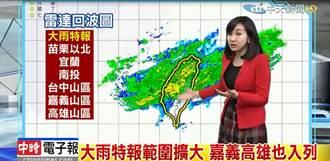 影》大雨特報範圍持續擴大 明後天夜間最低7度