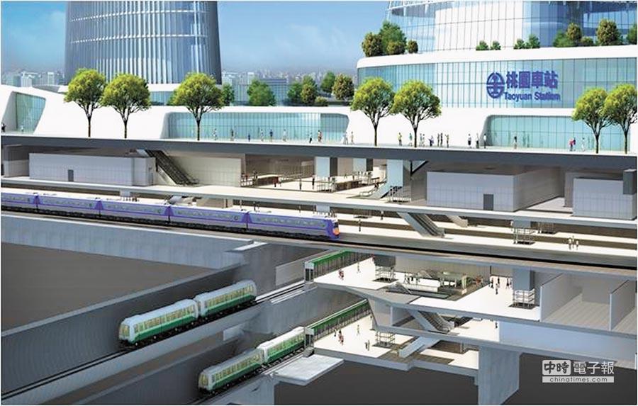 圖為桃園車站與捷運綠線地下轉乘示意圖。(甘嘉雯翻攝)