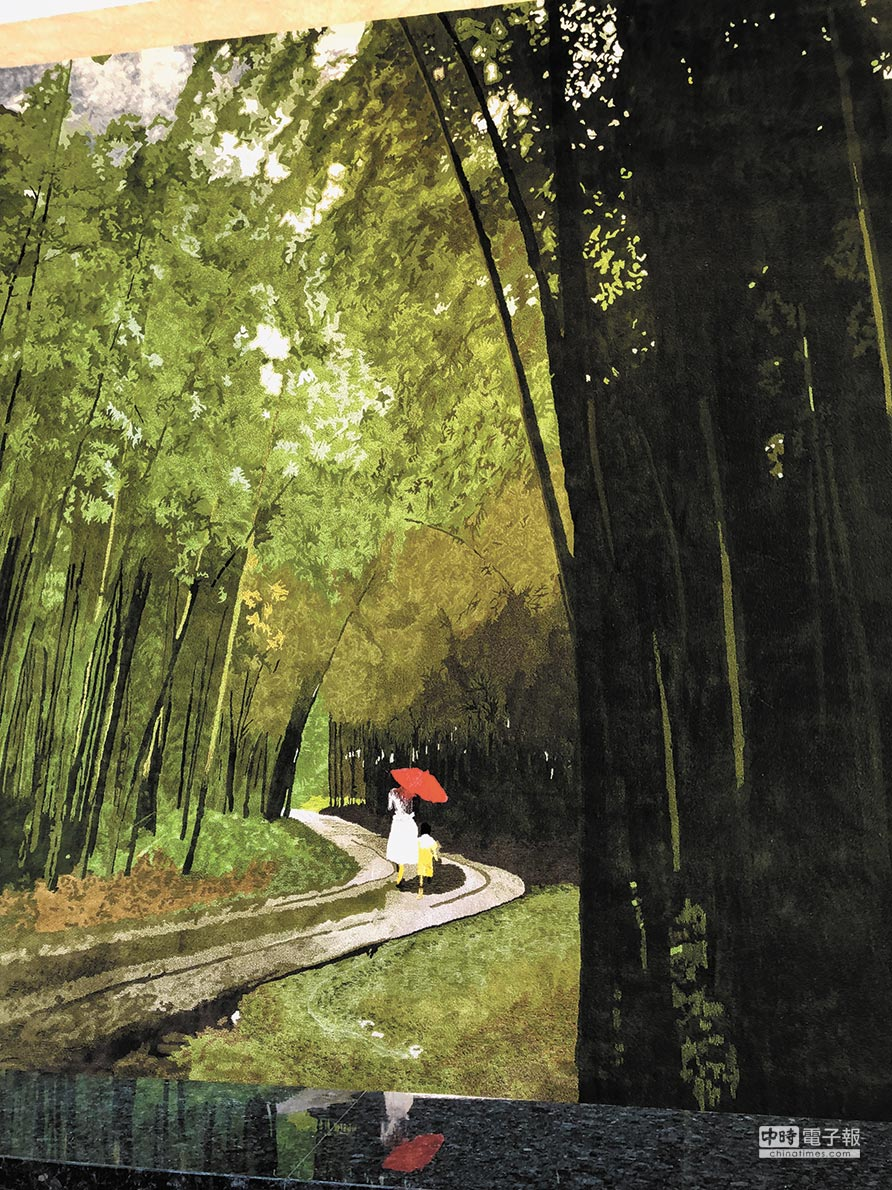 「悅寶旺」大樓以竹子作為設計發想,連門廳主牆都是竹林。圖/黃繡鳳